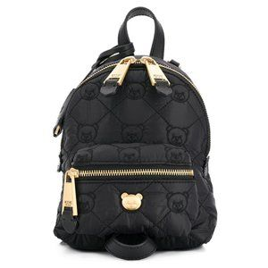 Black Teddy Bear Stud Quilted Mini Backpack